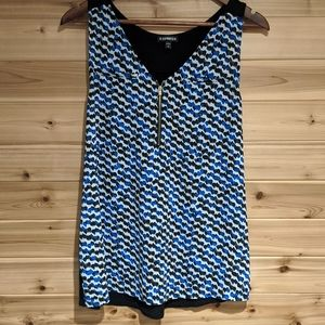 3/$20 Express Zipper Tank in Blue and White